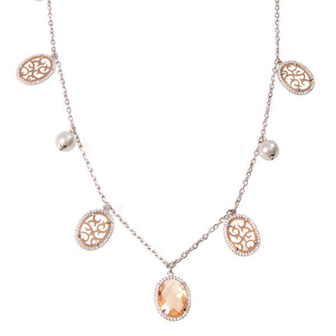 Necklace with crystals champagne, elements arabesques, zircons and Swarovski beads pendants