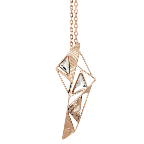 Pink necklace with geometric pendant from the effect craquelé and Swarovski