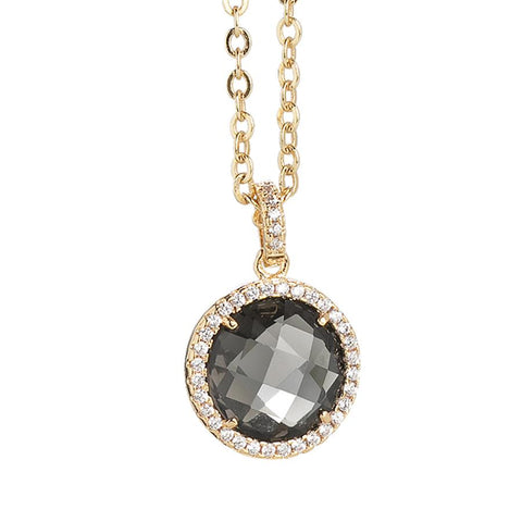 Related product : Necklace with crystal smoky quartz and pendant zircons