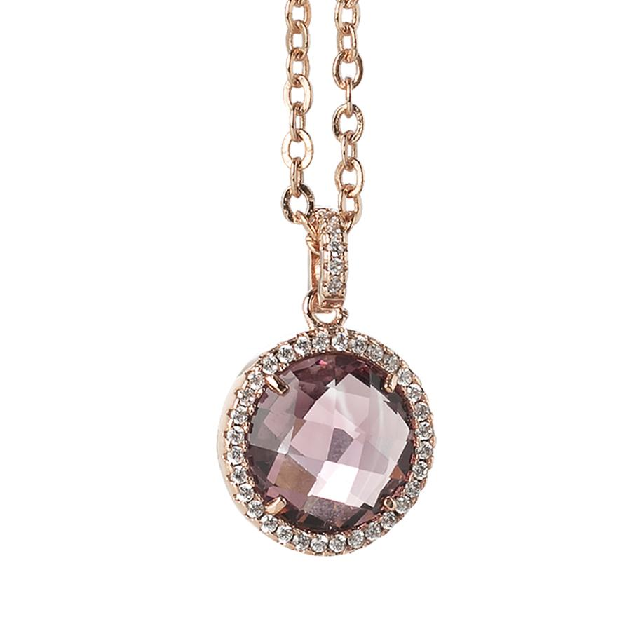 Necklace with crystal and amethyst pendant zircons