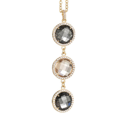 Related product : Necklace with crystal pendant champagne, smoky quartz and zircons
