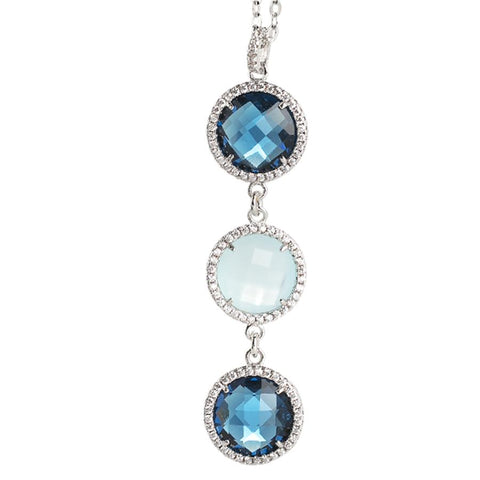 Necklace with crystal pendant Montana and aquamilk and zircons