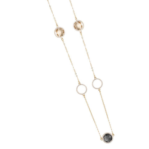 Related product : Necklace with crystals smoky quartz, champagne and zircons