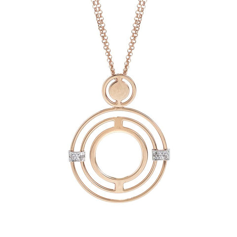Pink Necklace Pendant with concentric and zircons