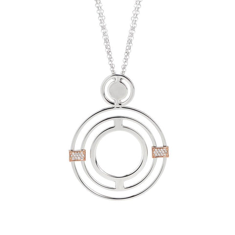 Rhodium plated Necklace Pendant with concentric and zircons