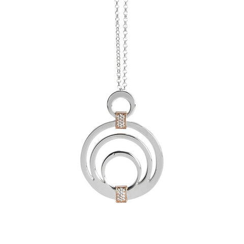 Necklace with circular pendant and zircons