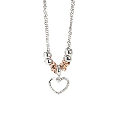 Rhodium plated necklace with a pendant in the heart and zircons