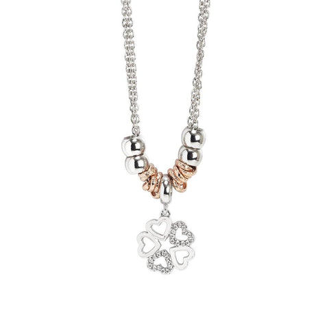 Rhodium plated Necklace Pendant with four-leaf clover and zircons