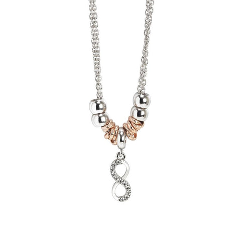 Rhodium plated necklace with a pendant in the shape of infinity and zircons