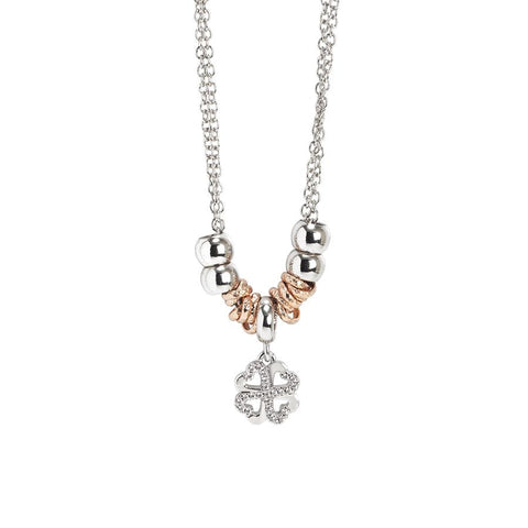 Necklace with a pendant in the shape of a four-leaf clover and zircons