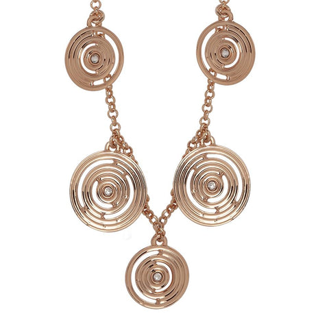 Long necklace gold plated pink with concentric charms and Swarovski