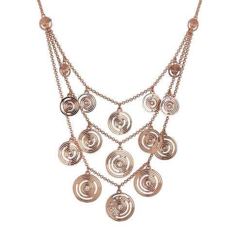Multi-Strand necklace plated pink gold pendant with concentric and Swarovski