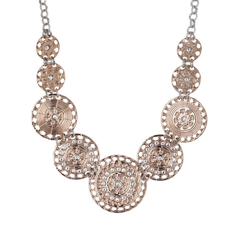 Related product : Short necklace gold plated pink with semi-rigid breastplate and Swarovski