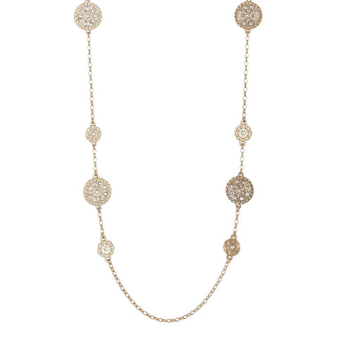 Related product : Long necklace Gold Plated yellow with decorations of the Etruscans and Swarovski