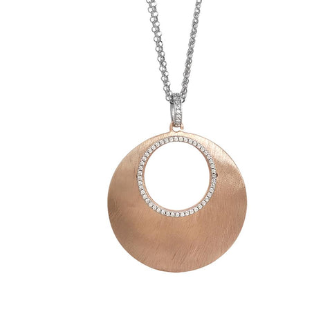 Necklace double plated wire pink gold pendant with perforated and zircons