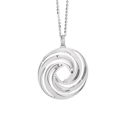 Related product : Rhodium plated necklace with a pendant from the decoration a vortex and zircons