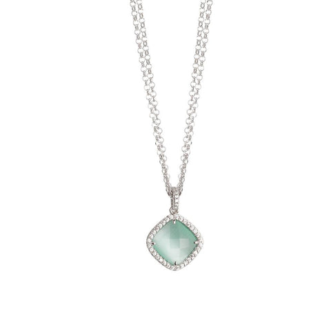 Related product : Necklace double wire with crystal green mint and zircons