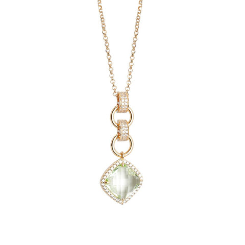 Related product : Necklace Pendant with crystal chrysolite briolette and zircons