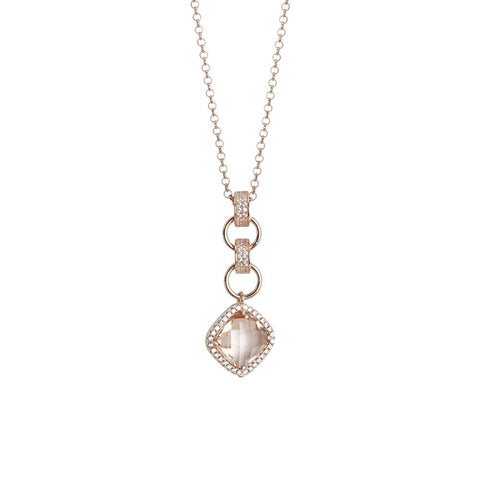 Related product : Necklace with pendant briolette crystal peach and zircons