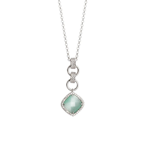 Related product : Necklace with pendant briolette crystal green mint and zircons