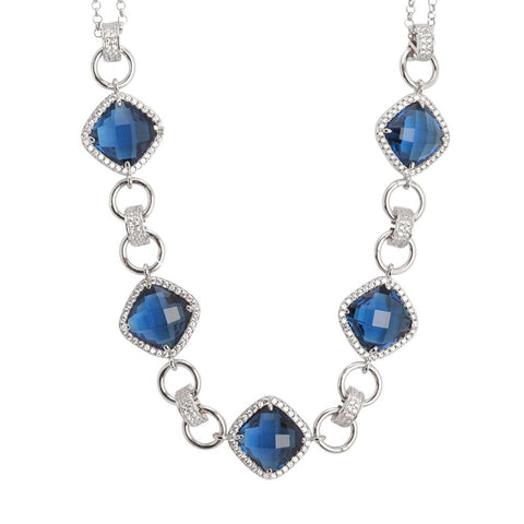 Related product : Necklace double wire with central decoration of crystals blue montana and zircons