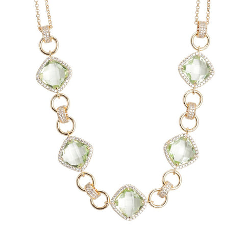 Related product : Necklace double wire with central decoration of chrysolite crystals and zircons