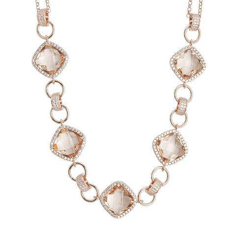 Related product : Necklace double wire with central decoration of crystals peach and zircons