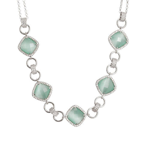 Related product : Necklace double wire with central decoration of crystals green mint and zircons