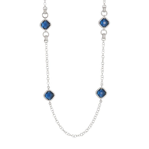 Related product : Long necklace with briolette crystal blue montana and zircons
