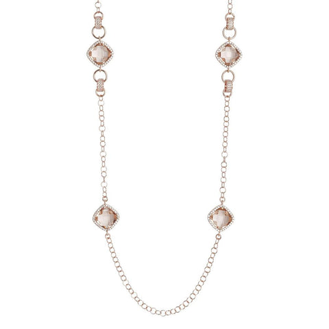 Related product : Long necklace with crystals briolette peach and zircons