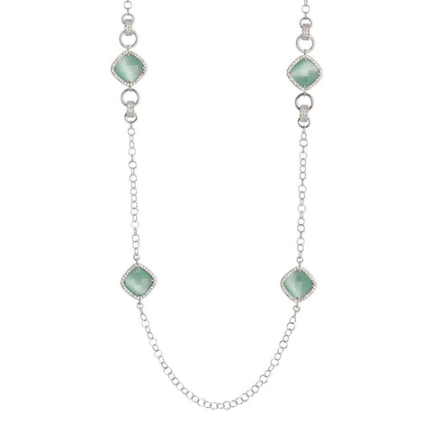 Related product : Long necklace with crystals briolette green mint and zircons