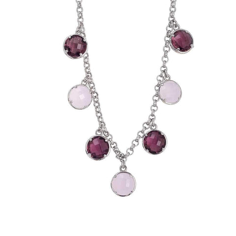 Necklace with crystals pendants amethyst and rose quartz milk