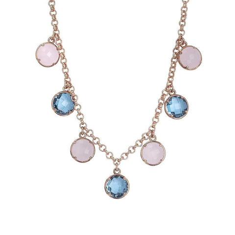 Necklace with hanging crystals sky and pink quartz milk