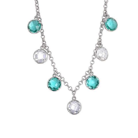 Necklace with crystals pendants green water and crystal