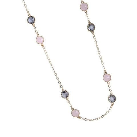 Long necklace with crystals fumè and rose quartz milk