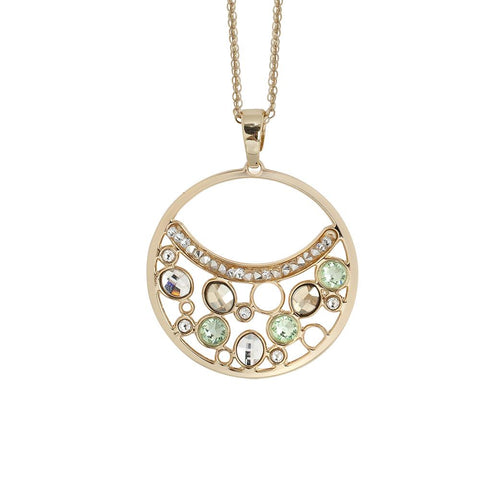 Related product : Necklace double wire with a pendant decorated with Swarovski crystal, chrysolite and gold