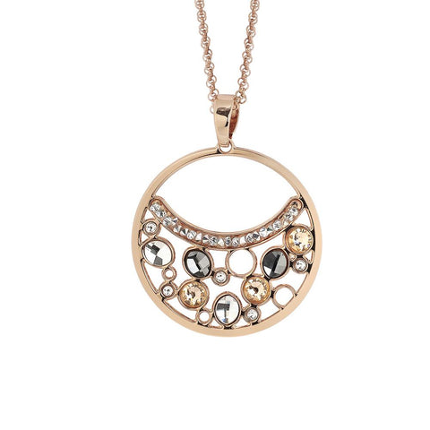 Related product : Necklace double wire with a pendant decorated with Swarovski crystal, peach and silver night