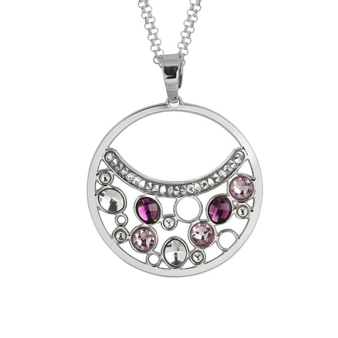 Related product : Necklace double wire with a pendant decorated with Swarovski crystal and ametyst