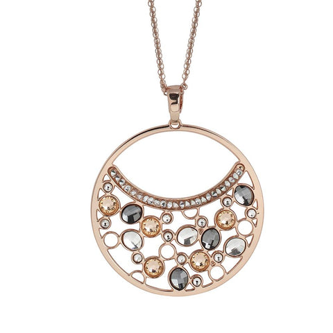 Related product : Double necklace wearing pendant with Swarovski crystal, peach and silver night
