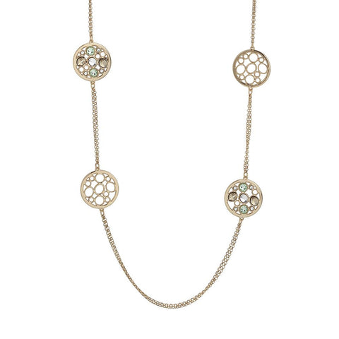 Related product : Long necklace double wire plated yellow gold with decorations in Swarovski