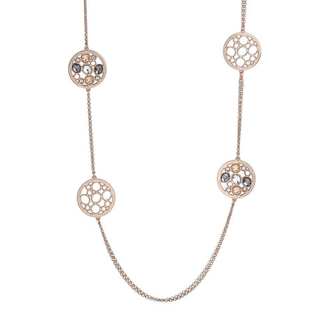 Related product : Long necklace double plated wire pink gold with decorations in Swarovski