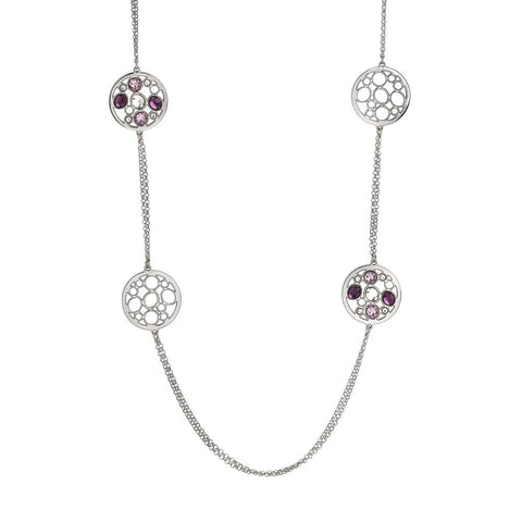 Related product : Long necklace double rhodium plated wire with decorations in Swarovski
