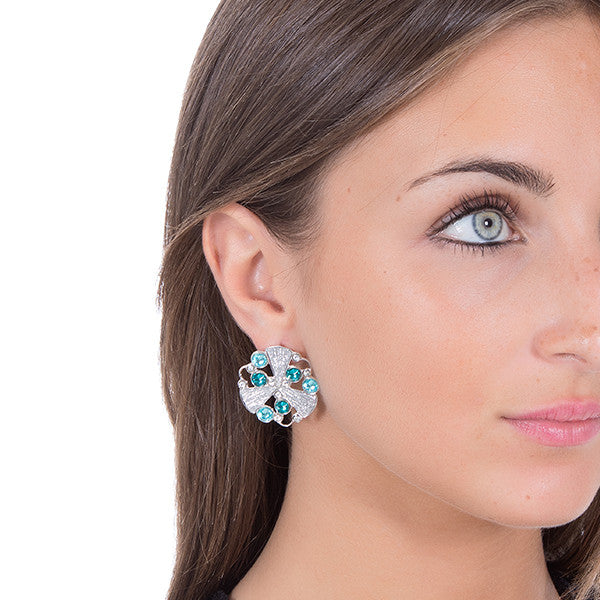 Earrings in the lobe with radial decoration, glitter and Swarovski