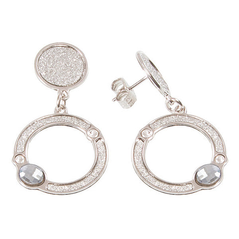 Earrings with circular pendants and Swarovski