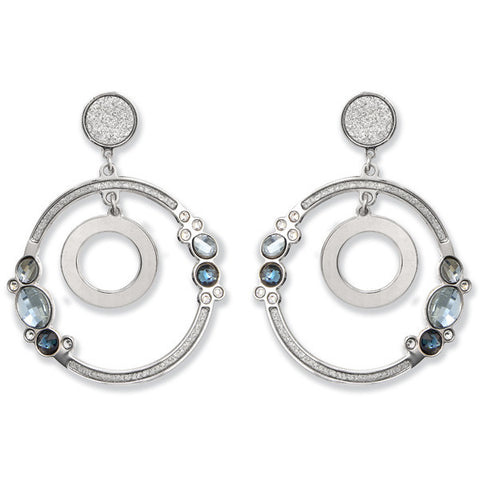 Earrings Pendant with concentric and Swarovski