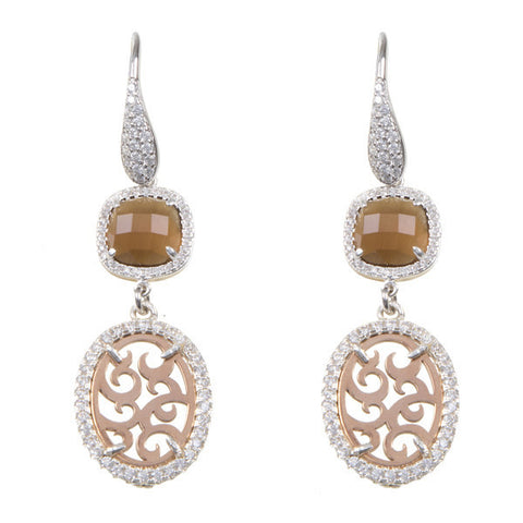 Earrings hanging from reason arabesco with zircons and crystal briolette fumè