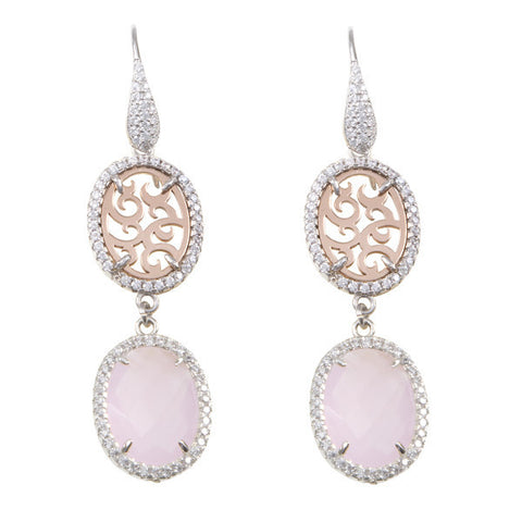 Earrings Pendant with zircons and briolette Crystal Pink