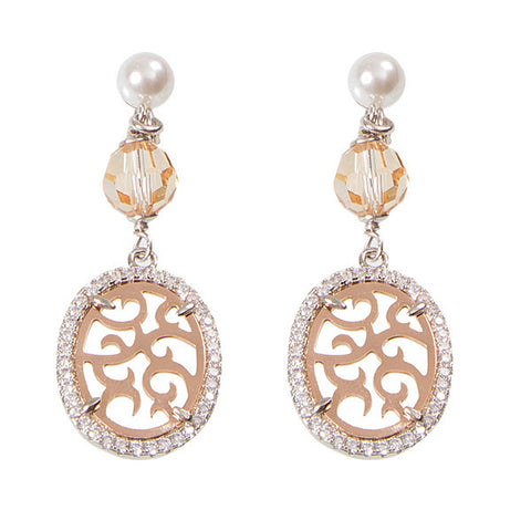 Earrings bicolor pendant with arabesque, zircons and Swarovski beads