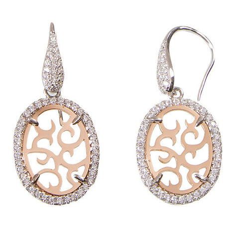 Earrings Pendant with bicolor and zircons