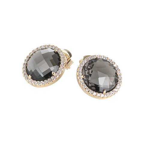 Related product : Earrings with crystals smoky quartz and zircons
